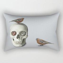 Skull & bird, watercolor Rectangular Pillow
