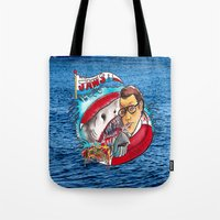 jaws Tote Bags featuring Jaws  by Christopher Chouinard