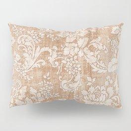 Vintage white brown grunge shabby floral Pillow Sham