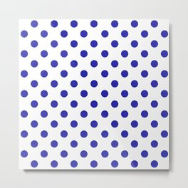 Polka Dots (Navy & White Pattern) Metal Print