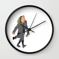 tintin Wall Clocks featuring Goth Ninja Tintin by Derek Boman