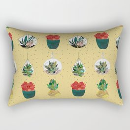 Gold Festive Succulents Rectangular Pillow