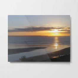SAUNTON SANDS BEACH SUNSET DEVON Metal Print