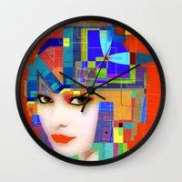 nouveau Wall Clocks featuring Nouveau Girl 2 by Steve W Schwartz Art