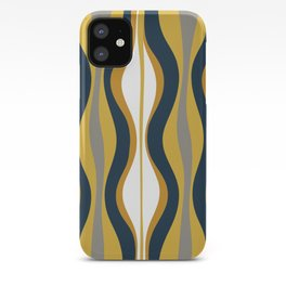 Hourglass Abstract Mid Century Modern Retro Pattern in Mustard Yellow, Navy Blue, Grey, and White iPhone Case