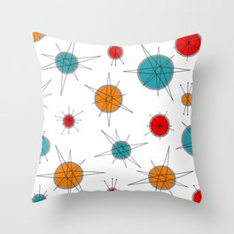 Atomic Age Colorful Planets Throw Pillow