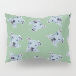 Pit Bull Terrier Puppy Portrait Pattern on Green Pillow Sham