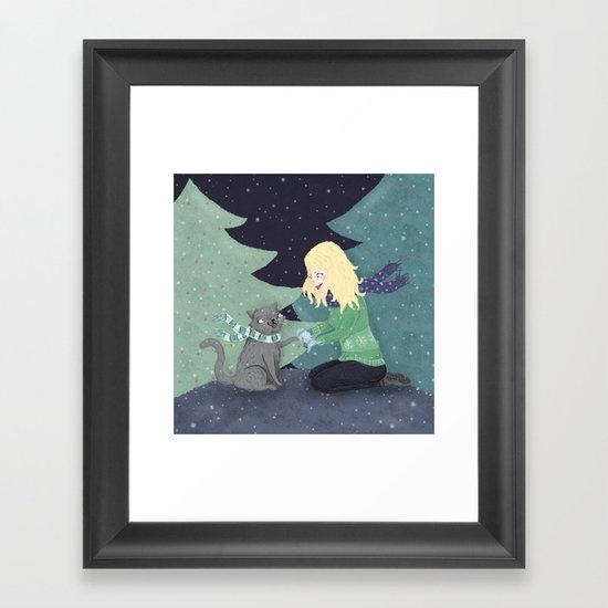 Giving Gifts at Christmas Framed Art Print