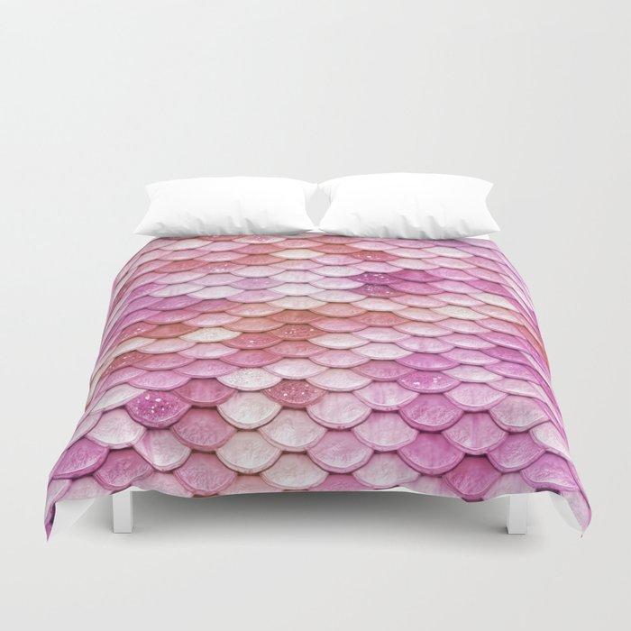 Multicolor pink mermaid glitter scales - Mermaidscales Duvet Cover