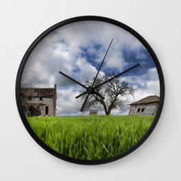 Old House In Field Wall Clock