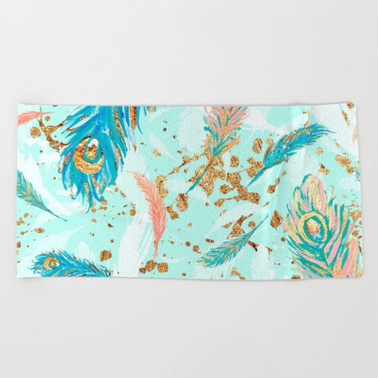 Feather peacock peach mint #1 Beach Towel