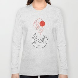 Cat with Ball of Yarn Long Sleeve T-shirt