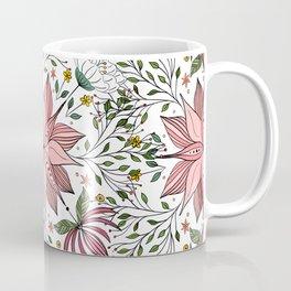 Cute Vintage Pink Floral Doodles Tile Art Coffee Mug