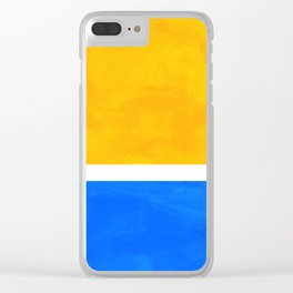 Primary Yellow Cerulean Blue Mid Century Modern Abstract Minimalist Rothko Color Field Squares Clear iPhone Case