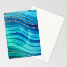 Gold Indigo Blue  Ocean Marble Waves Stationery Cards