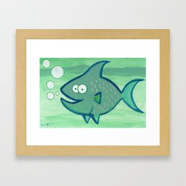 Super Happy Fish! Framed Art Print