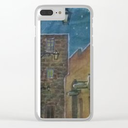 Castle under starry night Clear iPhone Case