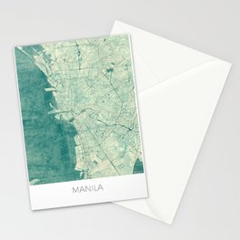 Manila Map Blue Vintage Stationery Cards