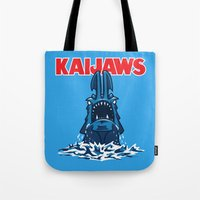 pacific rim Tote Bags featuring KaiJaws (Pacific Rim/Jaws) by Tabner's