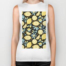 Lemon Pattern Black Biker Tank