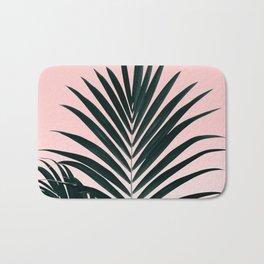 Tropical Green palm tree leaf blush pink gradient photography Bath Mat
