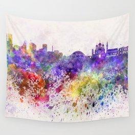 Tallinn skyline in watercolor background Wall Tapestry