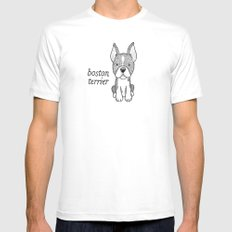 Dog Breeds: Boston Terrier White SMALL Mens Fitted Tee