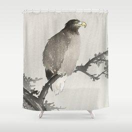 Eagle sitting on tree - Japanese vintage woodblock print Shower Curtain