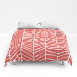 Coral Herringbone Comforters