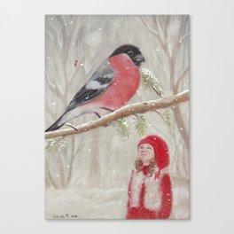 Bullfinch and Gnome-girl - Christmas Canvas Print