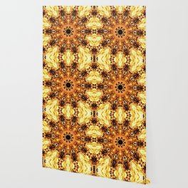 Yellow Brown Mandala Abstract Flower Wallpaper