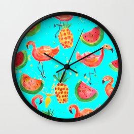 Flamingo Tropical Wall Clock