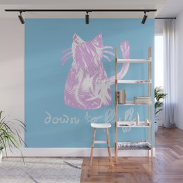 Down to Fluff Cute Cat Quote Blue and Pink Abstract Print Wall Mural