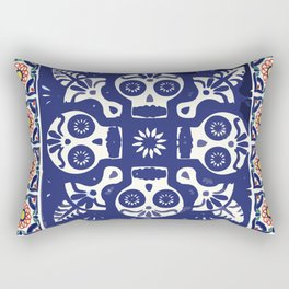 Talavera Mexican tile inspired bold Day of the Dead blue and white pattern Rectangular Pillow