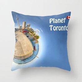 Planet Toronto Wall Paper Throw Pillow