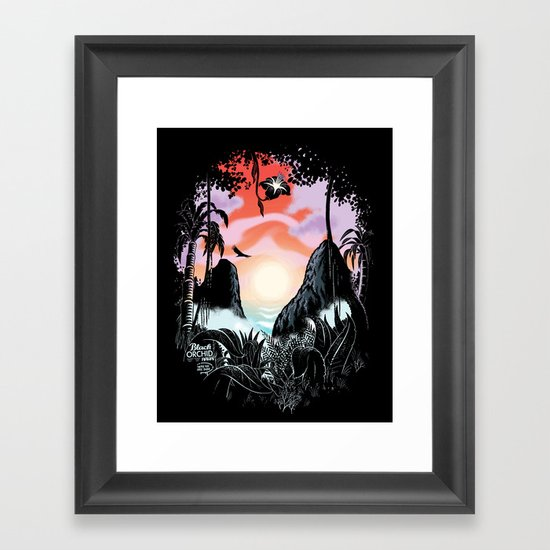 Black orchid Framed Art Print
