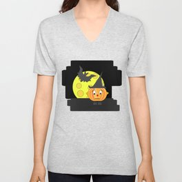 Funny emotionless pumpkin head with bat and moon Unisex V-Neck
