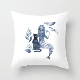 Mermaid and cat Throw Pillow