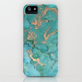 Turquoise and Gold - original painting by Tracy Sayers Trombetta iPhone Case
