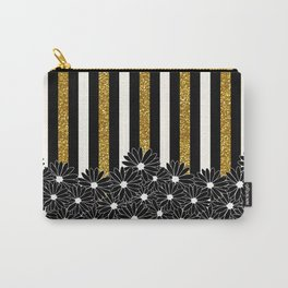 Black Daisies with Gold Glitter Stripes Carry-All Pouch