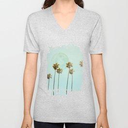 Full Moon Paradiese Beach Palm Trees Unisex V-Neck