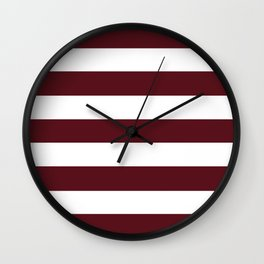Chocolate cosmos - solid color - white stripes pattern Wall Clock
