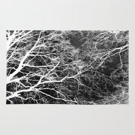 White on Black Trees Rug