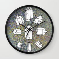 holographic Wall Clocks featuring holographic crystal collection by HiddenStash Art