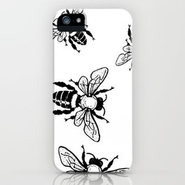More Black Bees Pattern Vintage Handdrawn iPhone Case