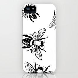 More Black Bees Pattern Vintage Handdrawn iPhone Case