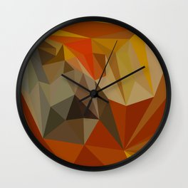 Mahogany Brown Abstract Low Polygon Background Wall Clock