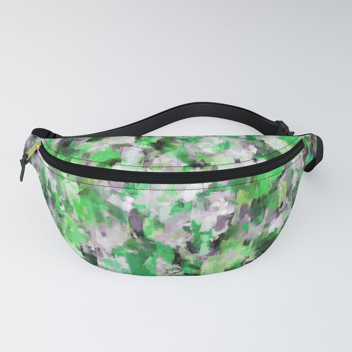 green abstract painting design pattern Fanny Pack