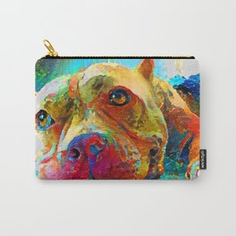 Modern Dog Painting Cute Colorful Pitbull Puppy Carry-All Pouch