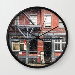 Snowy day in NoLita Wall Clock